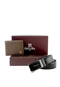 Valentino Rudy Italy Bi Fold Wallet and Auto Gear Buckle Belt Gift Set