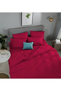 RELISH LOTARIO SCARLET RED FITTED SHEET SET 620 THREAD COUNT