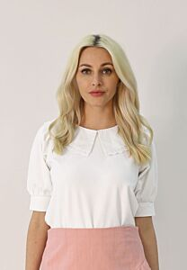 Puff Sleeves Top With Peter Pan Collar