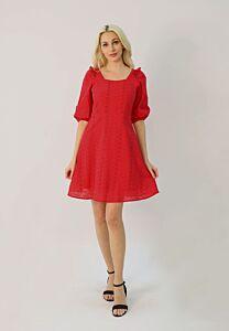 Eyelet Embroidery Puff Sleeve Dress