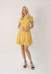 Floral Print Flounce Hem Cheongsam Dress