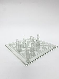 Glass Chess Set Featuring Frosted and Clear Glass Pieces and Glass Board