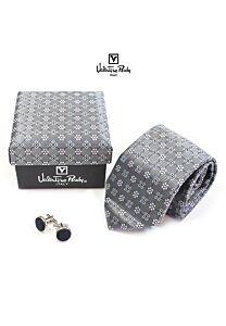 Men's 100% Silk Regular 8cm Necktie Cufflinks Giftset