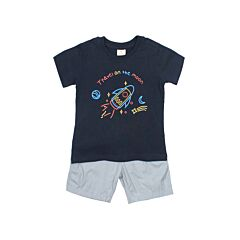 Graphic T-Shirt With Grey Shorts Suit