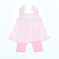 Stripes Suit With Lace Trims