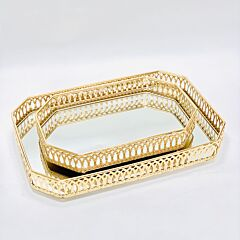Chantily Collection Gold Rectangular Tray with Mirror (Set)