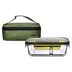 1040ml 2 Compartment Rectangular Container with Insulated Bag