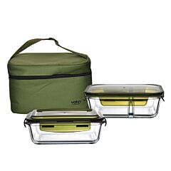 1040ml Rect Glass Container + 1040ml 2 Compartment Rect Glass Container With Insulated Bag