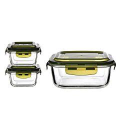 1200ml + 2pcs 180ml Square Glass Container Set