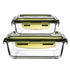 1520ml + 640ml Rect Glass Container Set