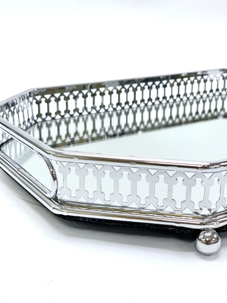 Rectangular Silver Tray with Mirror
